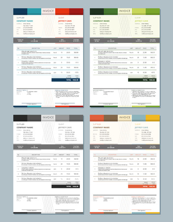INVOICE: Set of Vector Invoice Design Templates. 4 Color Themes