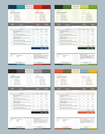 template: Set van Vector Factuur ontwerp sjablonen. 4 Color Themes