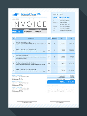 Vector Customizable Invoice Form Template Design. Vector Illustration