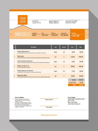 Vector Aanpasbare Invoice Form Template Design. Vector Illustratie. Oranje Kleur Theme