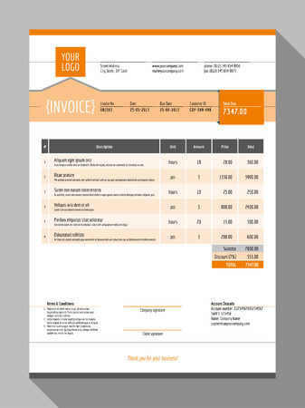Vector Customizable Invoice Form Template Design. Vector Illustration. Orange Color Theme Banco de Imagens - 45667620