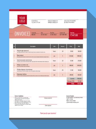 customizable: Vector Customizable Invoice Form Template Design. Vector Illustration. Red Color Theme Illustration