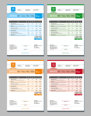 customer records: Set of Vector Invoice Design Templates. 4 Color Themes