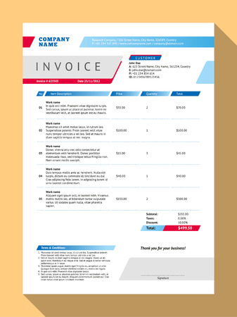 invoices: Vector Customizable Invoice Form Template Design. Vector Illustration. Blue and Red Color Theme Illustration