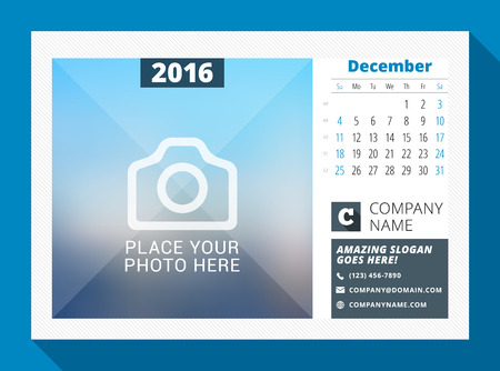 contact information: December 2016. Desk Calendar for 2016 Year. Vector Design Print Template with Place for Photo, Logo and Contact Information. Week Starts Sunday. Calendar Grid with Week Numbers Illustration