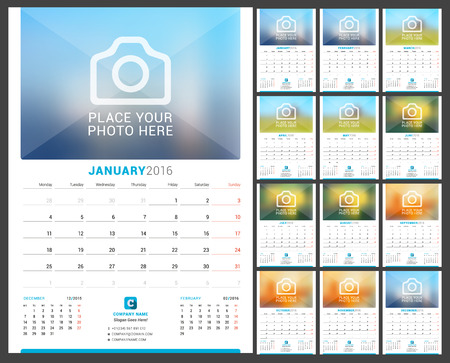 months of the year: Wall Monthly Calendar for 2016 Year. Vector Design Print Template with Place for Photo. Week Starts Monday. 3 Months on Page. Set of 12 Months Illustration