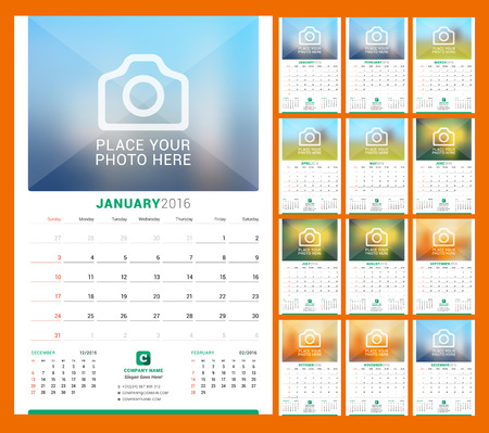 Wall Monthly Calendar for 2016 Year. Vector Design Print Template with Place for Photo. Week Starts Sunday. 3 Months on Page. Set of 12 Months