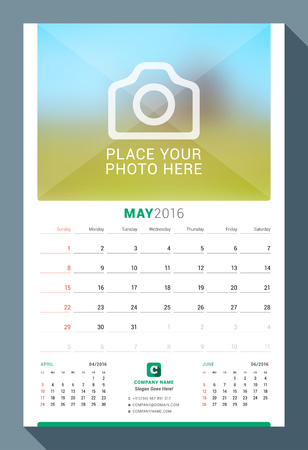 months of the year: May 2016. Wall Monthly Calendar for 2016 Year. Vector Design Print Template with Place for Photo. Week Starts Sunday. 3 Months on Page