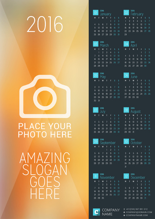 calendar: Wall Calendar Poster for 2016 Year. Vector Design Print Template with Place for Photo. Week Starts Monday