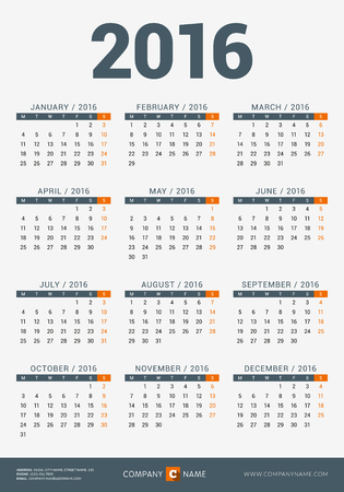 Calendar for 2016 Year. Vector Design Print Template with Company and Contact Information. Week Starts Monday