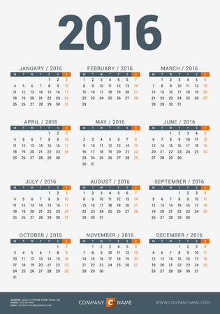 horarios: Calendario para 2016 A�o. Dise�o vectorial plantilla de impresi�n con la empresa e informaci�n de contacto. La semana comienza Lunes Vectores