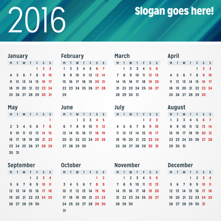 Calendar for 2016 Year. Vector Design Print Template with Place for Photo. Week Starts Monday Illusztráció
