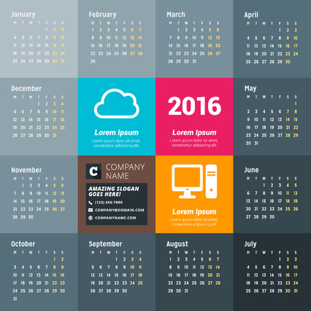 calendrier: Calendrier pour 2016 Ann�e. Vector Design mod�le d'impression avec des ic�nes de la technologie, la soci�t� et ses coordonn�es. La semaine commence lundi
