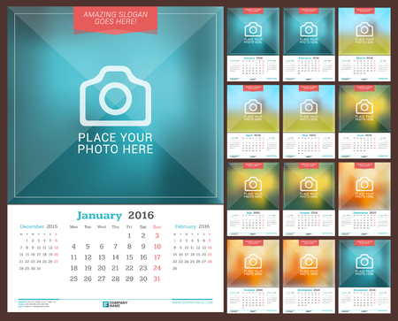 Wall Monthly Calendar for 2016 Year. Vector Design Print Template with Place for Photo. Week Starts Monday. 3 Months on Page. Set of 12 Months Illustration