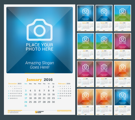 desk calendar: Wall Monthly Calendar for 2016 Year. Vector Design Print Template with Place for Photo. Dark Background. Week Starts Sunday. 3 Months on Page. Set of 12 Months