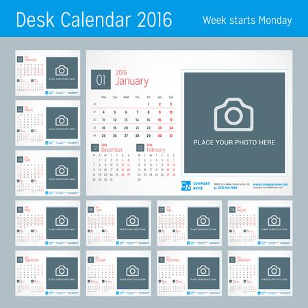 kalendarz: Biurko Kalendarz na 2016 rok. Szablon wektora z miejsca dla druku Zdjęcia i dane kontaktowe. Tydzień zaczyna się w poniedziałek. Kalendarz Siatka z numery tygodni. Zestaw 12 miesięcy Ilustracja