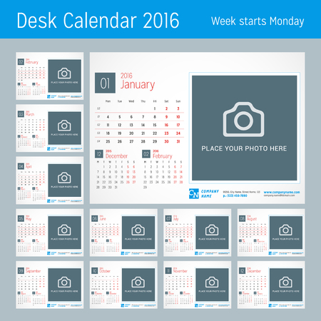 calendar: Desk Calendar for 2016 Year. Vector Design Print Template with Place for Photo, and Contact Information. Week Starts Monday. Calendar Grid with Week Numbers. Set of 12 Months