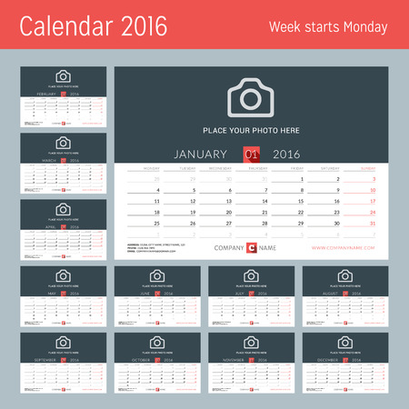 desk calendar: Desk Calendar for 2016 Year. Vector Design Print Template with Place for Photo, and Contact Information. Week Starts Monday. Set of 12 Months Illustration