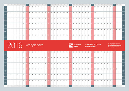 Calendar Planner for 2016 Year. Vector Design Print Template. Week Starts Monday Illusztráció