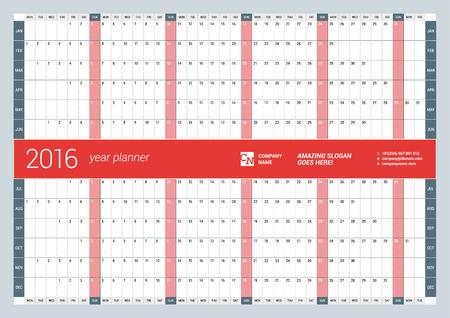 Kalender Planner 2016 Jaar. Vector Design Template Print. Week begint maandag