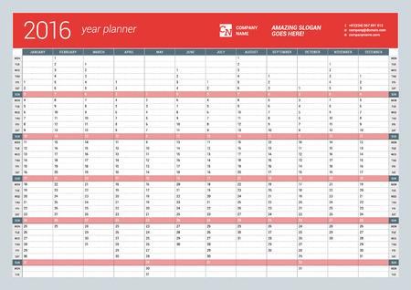 2016 年の年間壁カレンダー プランナー テンプレートベクター デザインの印刷テンプレートです。月曜始まり