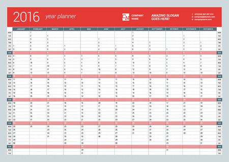 organizer: Yearly Wall Calendar Planner Template for 2016 Year. Vector Design Print Template. Week Starts Monday
