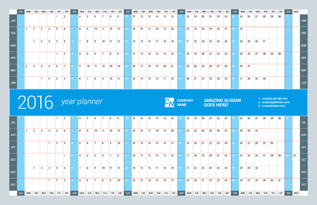 yearly: Yearly Wall Calendar Planner Template for 2016 Year. Vector Design Print Template. Week Starts Sunday