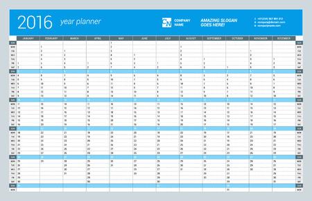 2016 年の年間壁カレンダー プランナー テンプレートベクター デザインの印刷テンプレートです。週の開始日