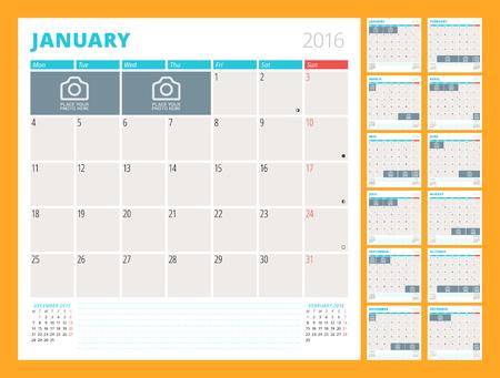 kalendarz: Miesięczny Planner Kalendarz na 2016 rok. Zestaw 12 miesięcy. Tydzień zaczyna się w poniedziałek. Szablon Drukuj Vector Design