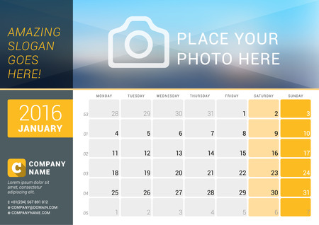 business desk: January 2016. Desk Calendar for 2016 Year. Vector Design Print Template with Place for Photo, and Contact Information. Week Starts Monday. Calendar Grid with Week Numbers and Place for Notes Illustration