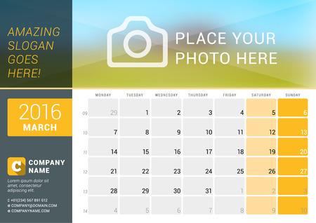 calendario: De marzo de 2016. calendario de escritorio para el 2016 A�o. Dise�o vectorial plantilla de impresi�n con lugar para las fotos, e informaci�n de contacto. La semana comienza el lunes. Calendario de cuadr�cula con n�meros de semana y el lugar de Notas Vectores