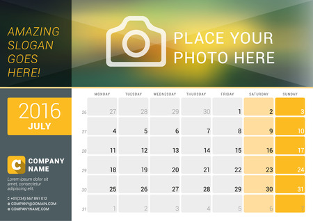 desk calendar: July 2016. Desk Calendar for 2016 Year. Vector Design Print Template with Place for Photo, and Contact Information. Week Starts Monday. Calendar Grid with Week Numbers and Place for Notes Illustration