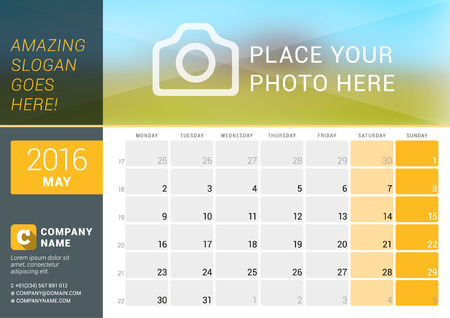 May 2016. Desk Calendar for 2016 Year. Vector Design Print Template with Place for Photo,  and Contact Information. Week Starts Monday. Calendar Grid with Week Numbers and Place for Notes