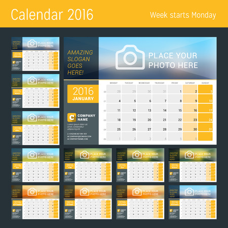 Desk Calendar for 2016 Year. Set of 12 Months. Vector Design Print Template with Place for Photo, and Contact Information. Week Starts Monday. Calendar Grid with Week Numbers and Place for Notes