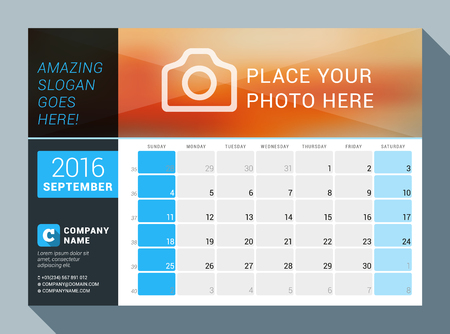 contact information: September 2016. Vector Design Print Calendar Template for 2016 Year. Place for Photo  and Contact Information. Week Starts Sunday. Calendar Grid with Week Numbers and Place for Notes