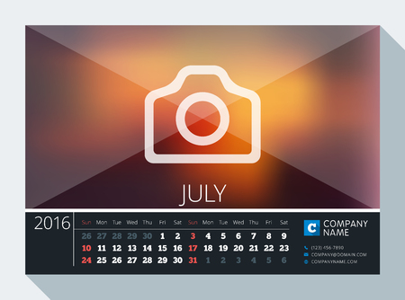 contact information: July 2016. Vector Stationery Design. Print Template. Desk Calendar for 2016 Year. Place for Photo, Logo and Contact Information. Week Starts Sunday Illustration