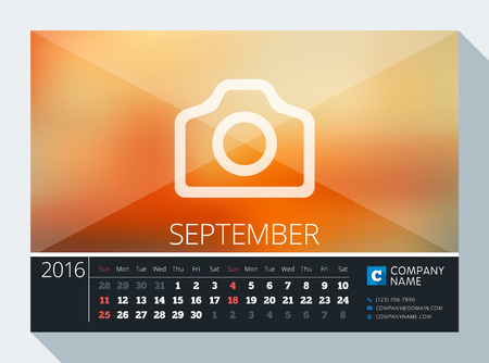 contact information: September 2016. Vector Stationery Design. Print Template. Desk Calendar for 2016 Year. Place for Photo, Logo and Contact Information. Week Starts Sunday