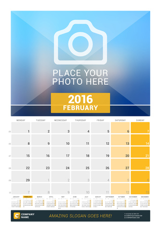 desk calendar: February 2016. Wall Monthly Calendar for 2016 Year. Vector Design Print Template with Place for Photo and Year Calendar. Week Starts Monday