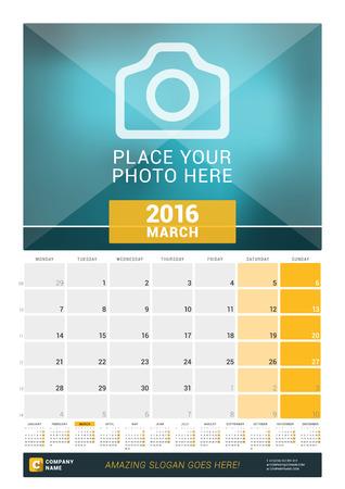 calendario: De marzo de 2016. Calendario de pared mensual para 2016 A�o. Dise�o vectorial plantilla de impresi�n con lugar para las fotos y A�o Calendario. La semana comienza Lunes
