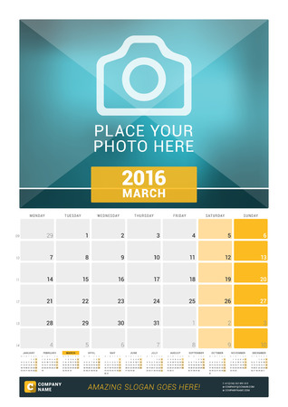 kalendarz: Marzec 2016. Miesięczny Kalendarz ścienny na 2016 rok. Szablon wektora z miejsca dla druku Zdjęcia i rok kalendarzowy. Tydzień zaczyna się w poniedziałek