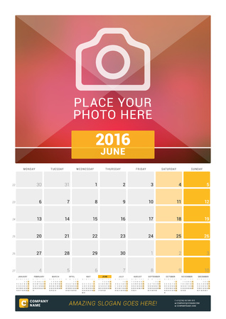 a calendar: June 2016. Wall Monthly Calendar for 2016 Year. Vector Design Print Template with Place for Photo and Year Calendar. Week Starts Monday