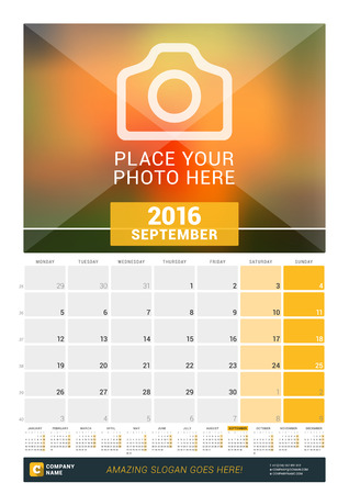 a calendar: September 2016. Wall Monthly Calendar for 2016 Year. Vector Design Print Template with Place for Photo and Year Calendar. Week Starts Monday