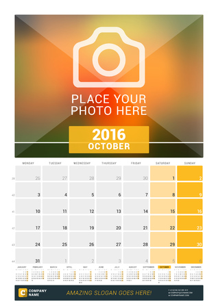 kalendarz: October 2016. Wall Monthly Calendar for 2016 Year. Vector Design Print Template with Place for Photo and Year Calendar. Week Starts Monday
