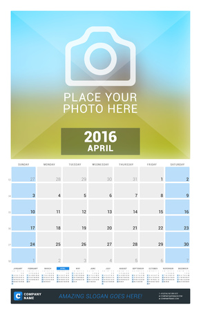full time: April 2016. Wall Monthly Calendar for 2016 Year. Vector Design Print Template with Place for Photo and Year Calendar. Week Starts Sunday