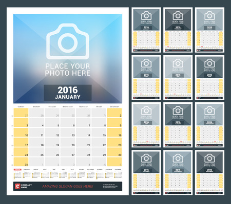 months of the year: Wall Monthly Calendar for 2016 Year. Vector Design Print Template with Place for Photo and Year Calendar. Week Starts Sunday. Set of 12 Months