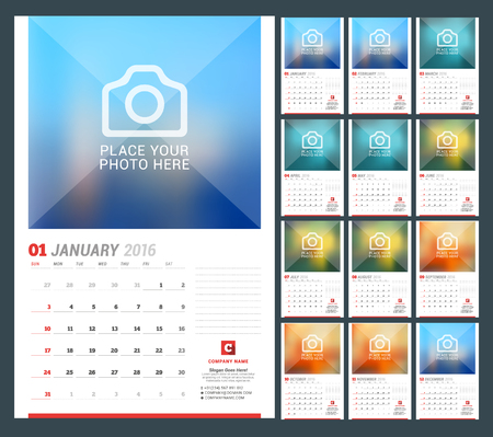 week: Wall Calendar Planner for 2016 Year. Vector Design Print Template with Place for Photo, Notes and Company Iformation. Week Starts Sunday. Set of 12 Months Illustration