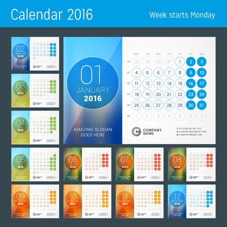 phone number: Desk Calendar for 2016 Year. Vector Design Print Template with Place for Photo and Circles. Week Starts Monday. Calendar Grid with Week Numbers. Set of 12 Months Illustration