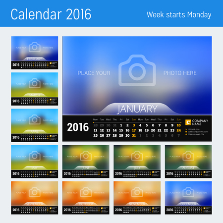 calendar: Desk Calendar for 2016 Year. Vector Design Print Template with Place for Photo. Week Starts Monday. Set of 12 Months