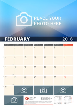 sunday paper: Wall Calendar Planner for 2016 Year. Vector Design Print Template with Place for Photos and Notes. Week Starts Monday. 3 Months on Page. February 2016 Illustration