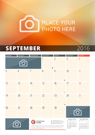 sunday paper: Wall Calendar Planner for 2016 Year. Vector Design Print Template with Place for Photos and Notes. Week Starts Monday. 3 Months on Page. September 2016